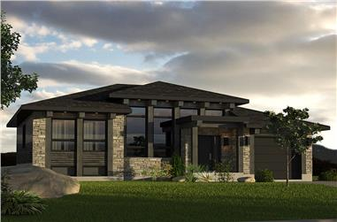 2-Bedroom, 1013 Sq Ft Contemporary Prairie Home Plan - 158-1301 - Main Exterior
