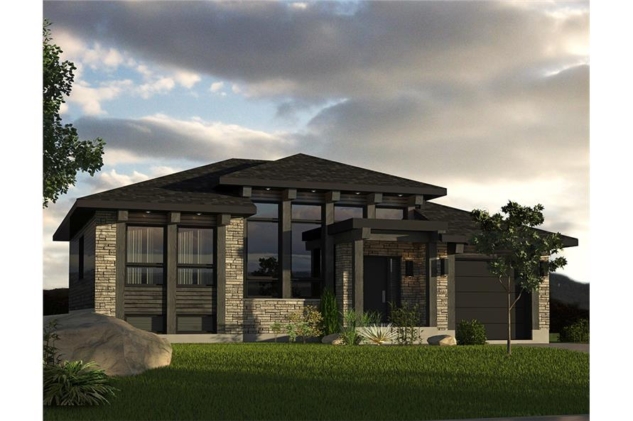 2-Bedroom, 1013 Sq Ft Contemporary Prairie Home Plan - 158-1301 - Main Exterior