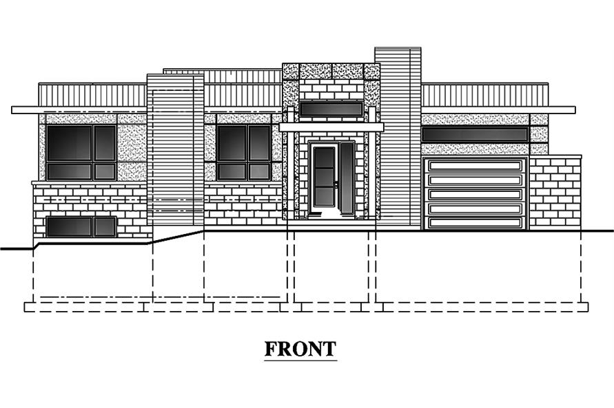 Home Plan Front Elevation of this 3-Bedroom,1421 Sq Ft Plan -158-1303