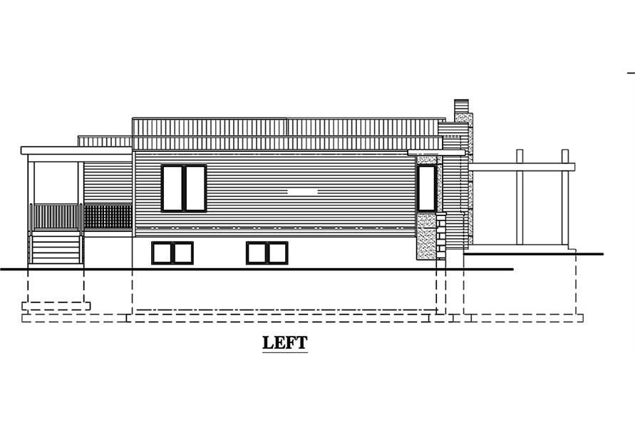 Home Plan Left Elevation of this 3-Bedroom,1421 Sq Ft Plan -158-1303