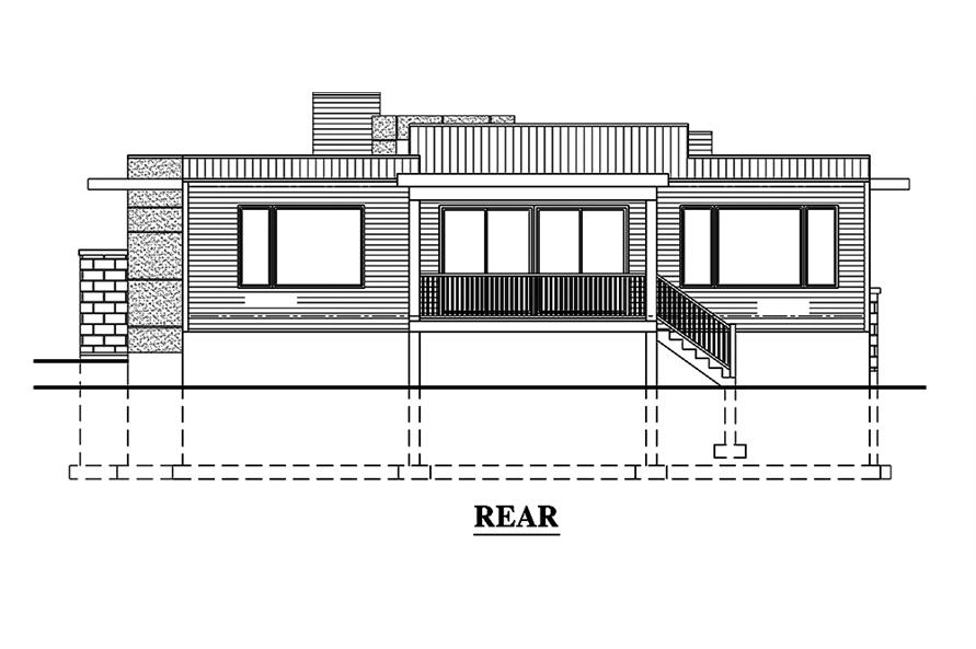 Home Plan Rear Elevation of this 3-Bedroom,1421 Sq Ft Plan -158-1303