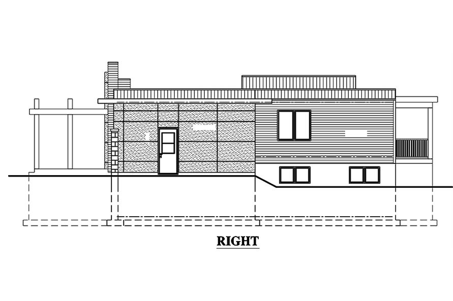 Home Plan Right Elevation of this 3-Bedroom,1421 Sq Ft Plan -158-1303