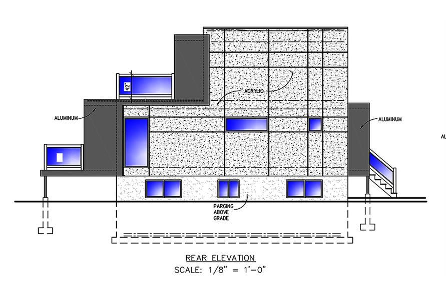 Home Plan Rear Elevation of this 2-Bedroom,832 Sq Ft Plan -158-1304