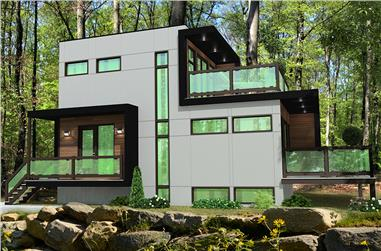 2-Bedroom, 832 Sq Ft Contemporary Home Plan - 158-1304 - Main Exterior