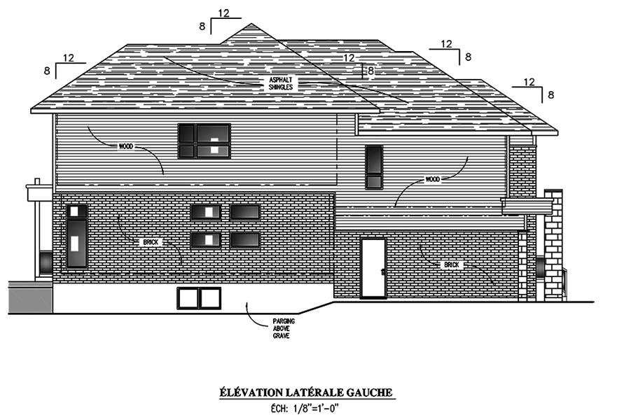 Home Plan Left Elevation of this 4-Bedroom,3139 Sq Ft Plan -158-1305