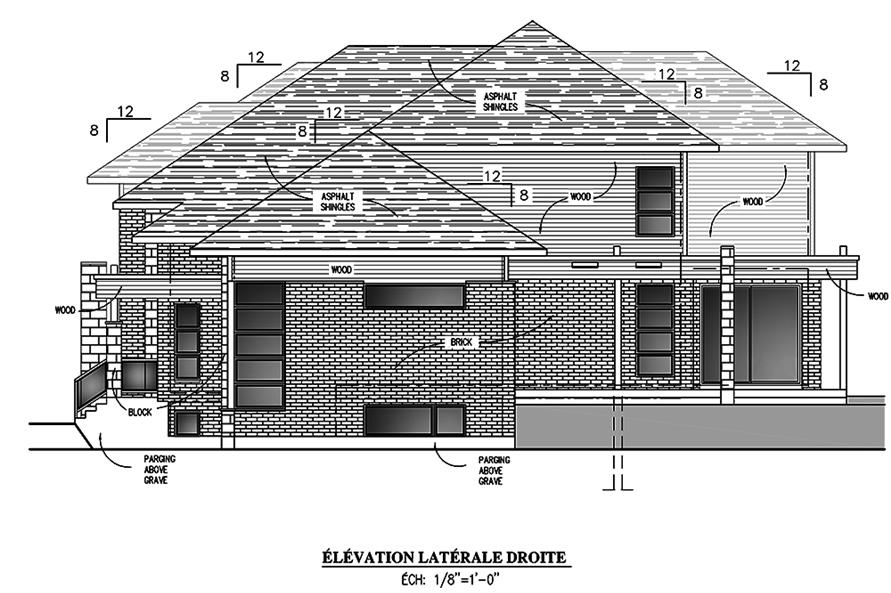 Home Plan Right Elevation of this 4-Bedroom,3139 Sq Ft Plan -158-1305