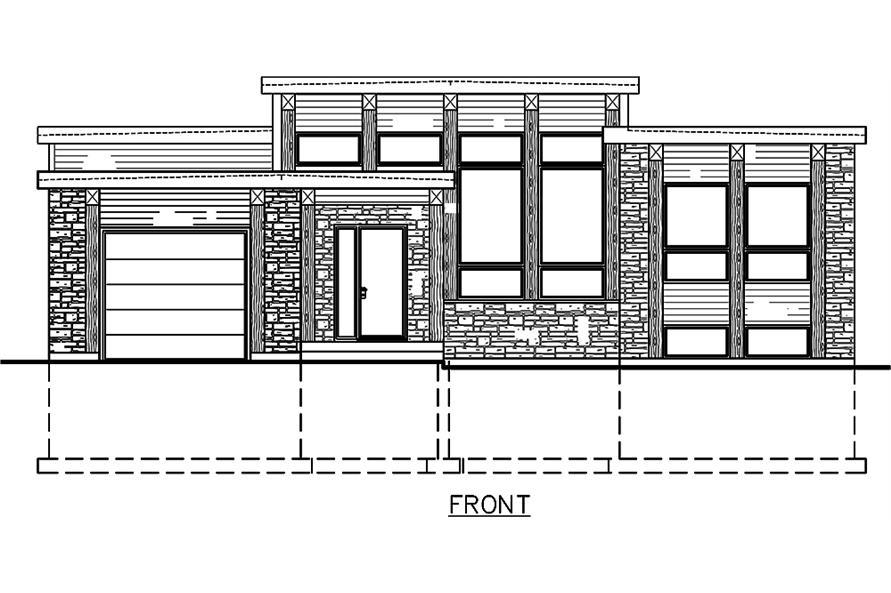 Home Plan Front Elevation of this 3-Bedroom,1282 Sq Ft Plan -158-1306
