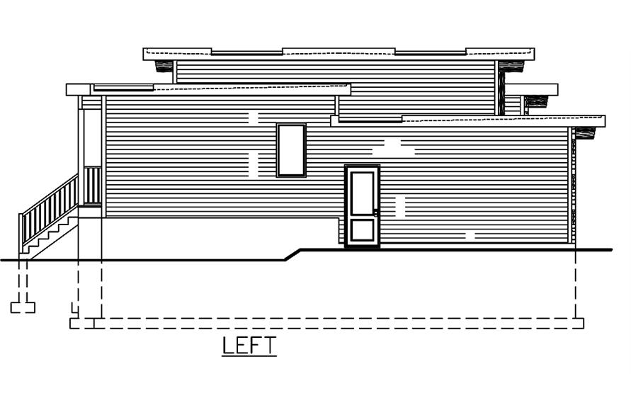 Home Plan Left Elevation of this 3-Bedroom,1282 Sq Ft Plan -158-1306