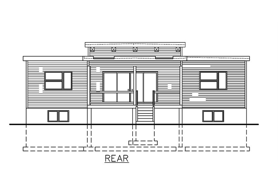 Home Plan Rear Elevation of this 3-Bedroom,1282 Sq Ft Plan -158-1306