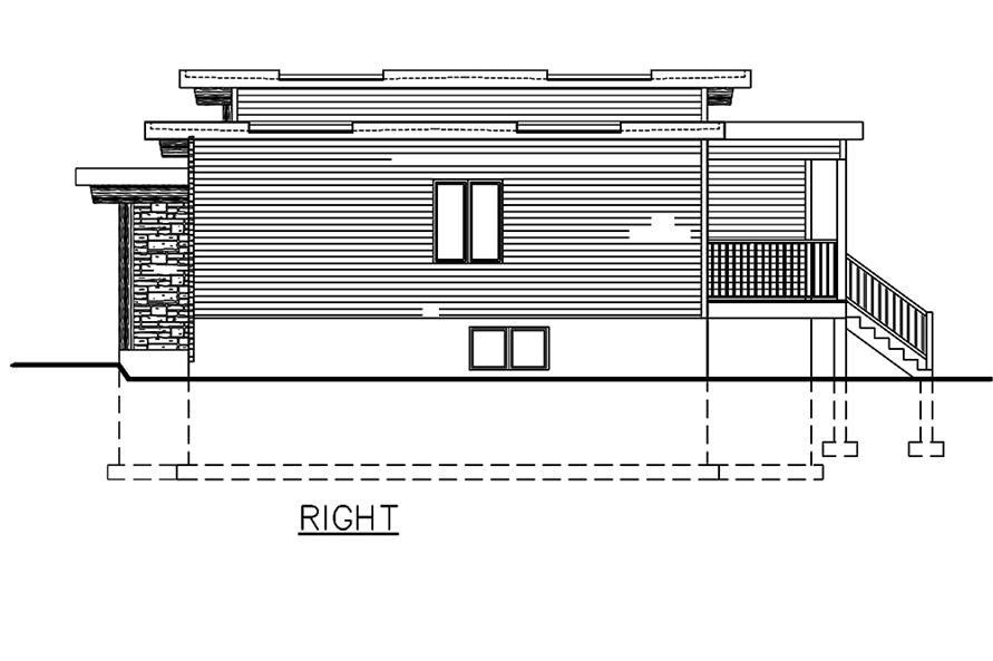 Home Plan Right Elevation of this 3-Bedroom,1282 Sq Ft Plan -158-1306