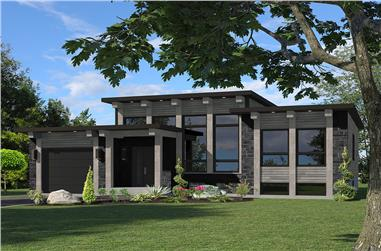 Front elevation of Bungalow home (ThePlanCollection: House Plan #158-1306)