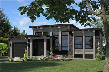 Color rendering of Modern home plan (ThePlanCollection: House Plan #158-1306)