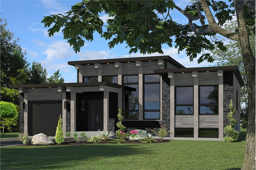 3-Bedroom, 1282 Sq Ft Modern Home Plan - 158-1306 - Main Exterior