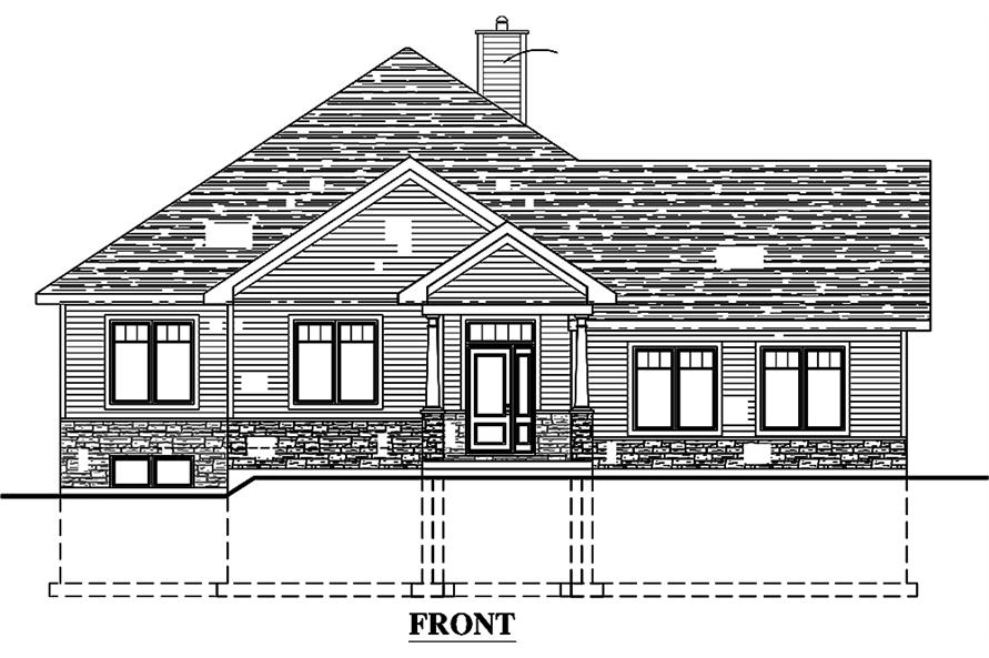 Home Plan Front Elevation of this 3-Bedroom,1393 Sq Ft Plan -158-1308