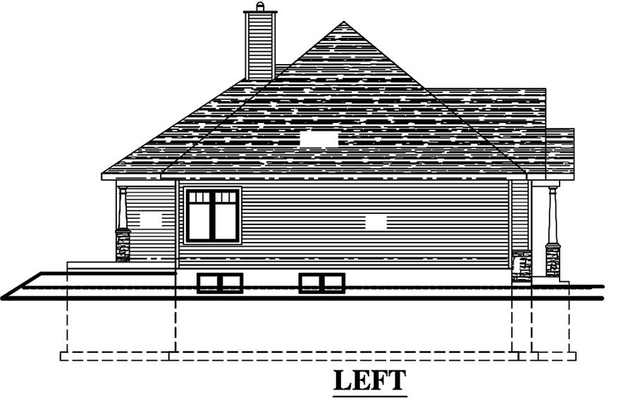 Home Plan Left Elevation of this 3-Bedroom,1393 Sq Ft Plan -158-1308