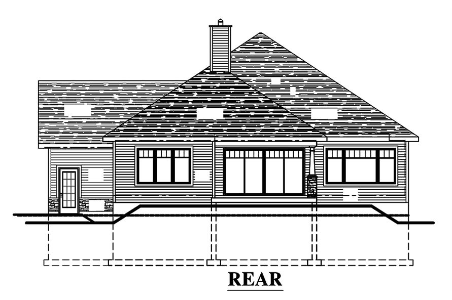 Home Plan Rear Elevation of this 3-Bedroom,1393 Sq Ft Plan -158-1308