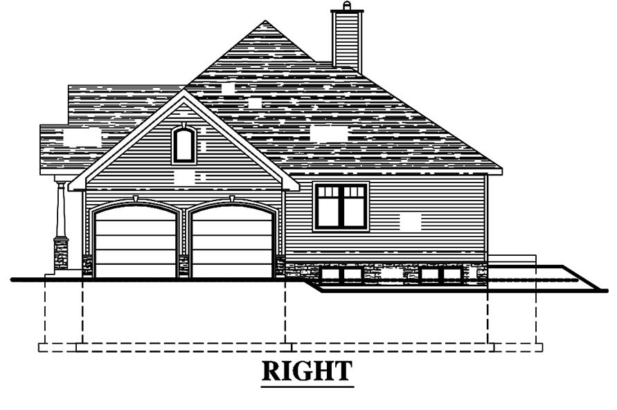 Home Plan Right Elevation of this 3-Bedroom,1393 Sq Ft Plan -158-1308