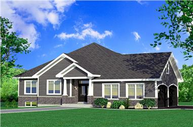 3-Bedroom, 1393 Sq Ft Bungalow House Plan - 158-1308 - Front Exterior