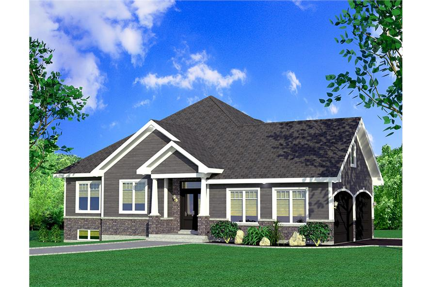 Front elevation of Bungalow home (ThePlanCollection: House Plan #158-1308)