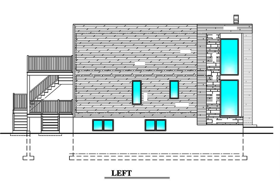Home Plan Left Elevation of this 3-Bedroom,1932 Sq Ft Plan -158-1310