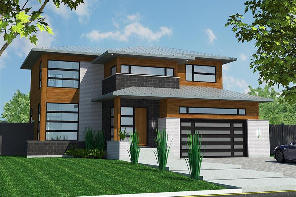 Front elevation of Contemporary home (ThePlanCollection: House Plan #158-1312)