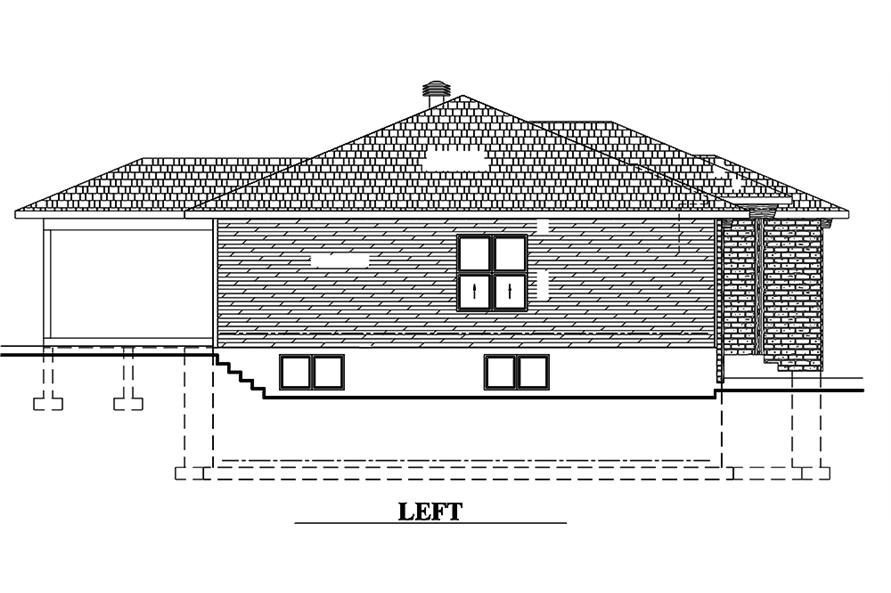 Home Plan Left Elevation of this 2-Bedroom,1351 Sq Ft Plan -158-1315