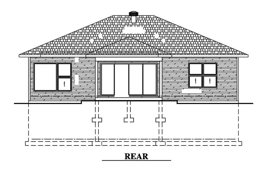 Home Plan Rear Elevation of this 2-Bedroom,1351 Sq Ft Plan -158-1315