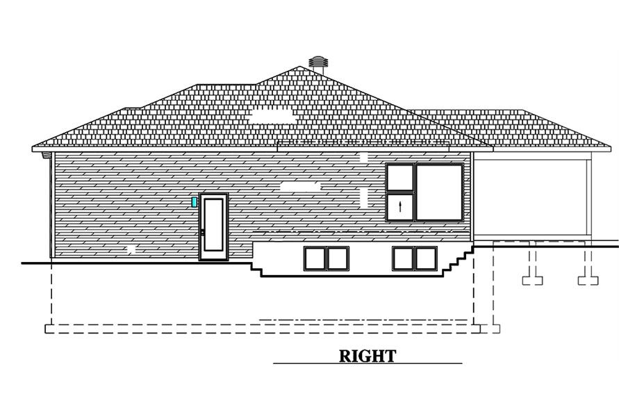 Home Plan Right Elevation of this 2-Bedroom,1351 Sq Ft Plan -158-1315