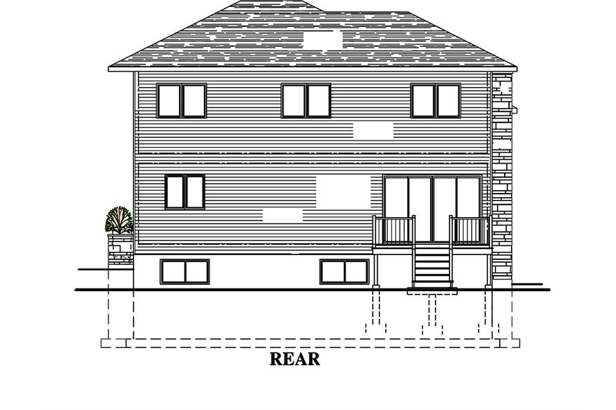 Home Plan Rear Elevation of this 3-Bedroom,1666 Sq Ft Plan -158-1316