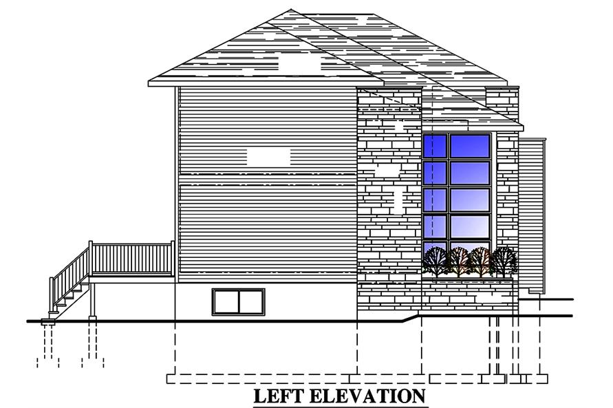 Home Plan Left Elevation of this 3-Bedroom,1666 Sq Ft Plan -158-1316