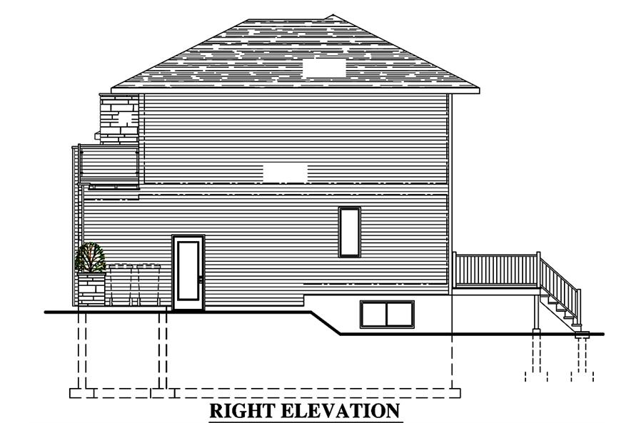 Home Plan Right Elevation of this 3-Bedroom,1666 Sq Ft Plan -158-1316