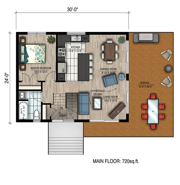 1 bedrm 720 sq ft bungalow house plan 158 1319 for 720 sq ft apartment floor plan