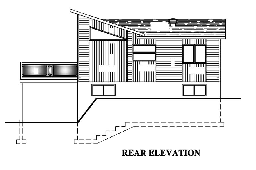 Home Plan Rear Elevation of this 4-Bedroom,720 Sq Ft Plan -158-1319