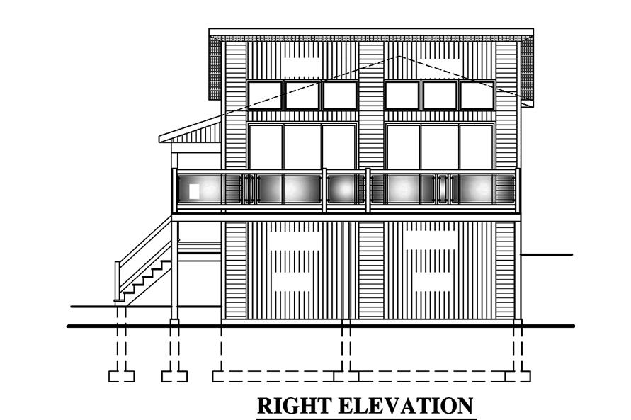 Home Plan Right Elevation of this 4-Bedroom,720 Sq Ft Plan -158-1319