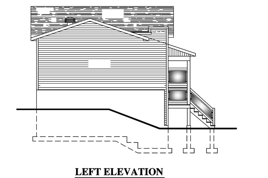 Home Plan Left Elevation of this 4-Bedroom,720 Sq Ft Plan -158-1319