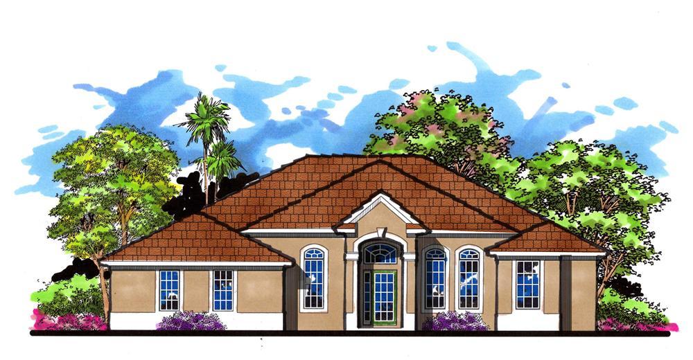 Color rendering of  Mediterranean House Plan 159-1001