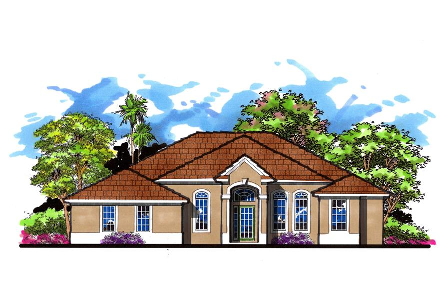 4-Bedroom, 2620 Sq Ft Mediterranean Home Plan - 159-1001 - Main Exterior