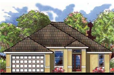 3-Bedroom, 1704 Sq Ft Mediterranean House Plan - 159-1004 - Front Exterior