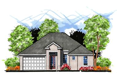 3-Bedroom, 1492 Sq Ft European House Plan - 159-1018 - Front Exterior