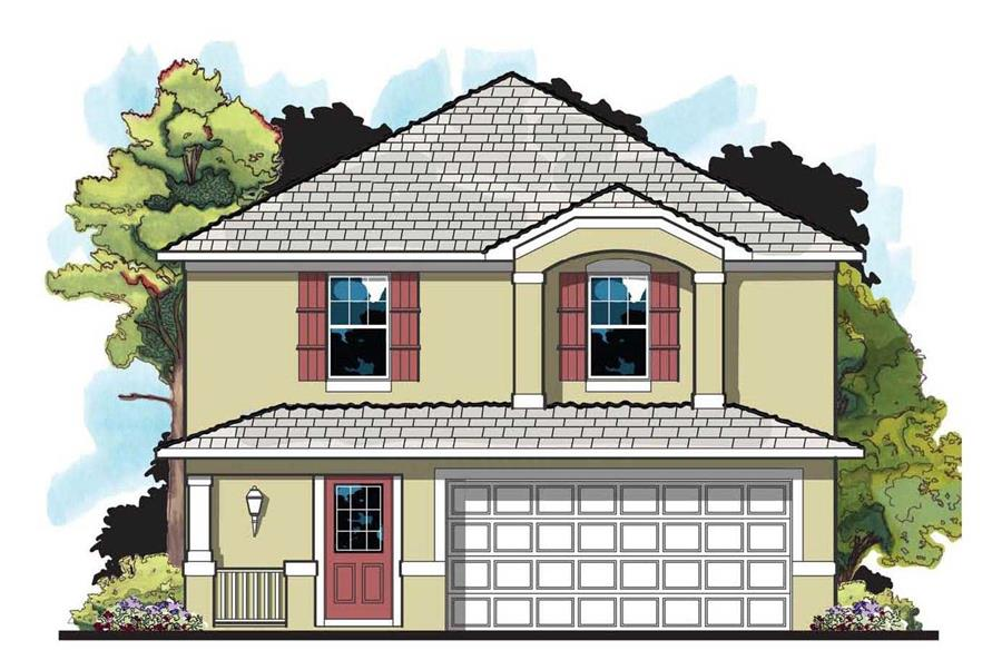 Front elevation of European home (ThePlanCollection: House Plan #159-1021)