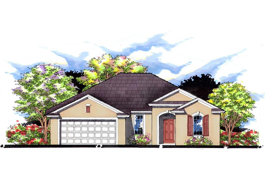 This is an artist's rendering for these Ranch House Plans.