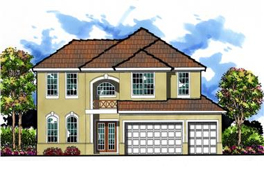 5-Bedroom, 2817 Sq Ft Mediterranean House Plan - 159-1032 - Front Exterior