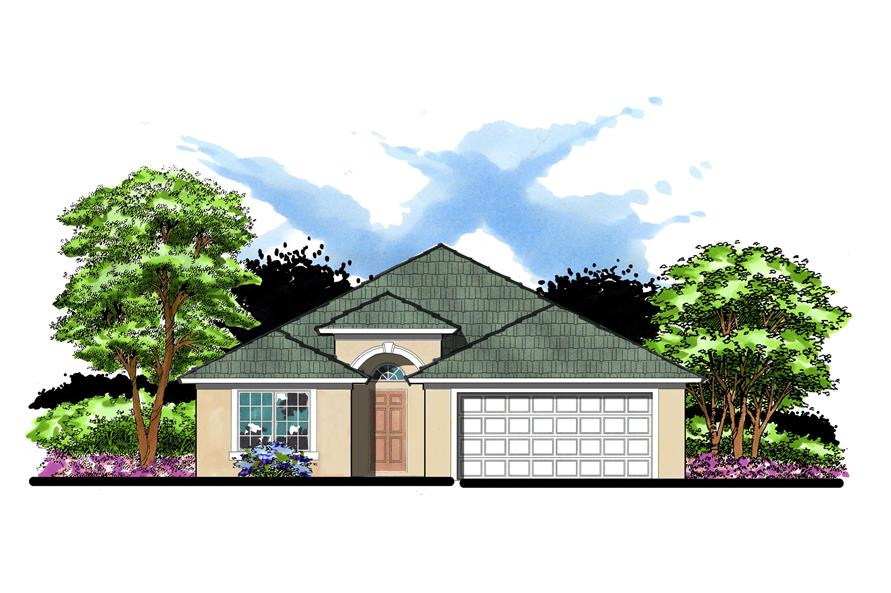 2-Bedroom, 1185 Sq Ft Mediterranean Home Plan - 159-1035 - Main Exterior