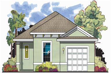 2-Bedroom, 1122 Sq Ft Mediterranean House Plan - 159-1037 - Front Exterior