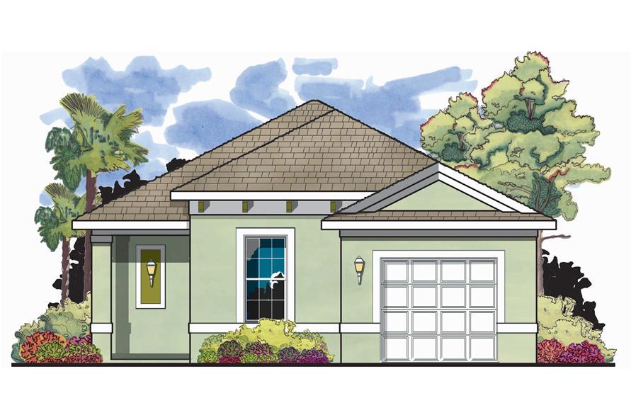 2-Bedroom, 1122 Sq Ft Mediterranean House Plan - 159-1037 - Front Exterior