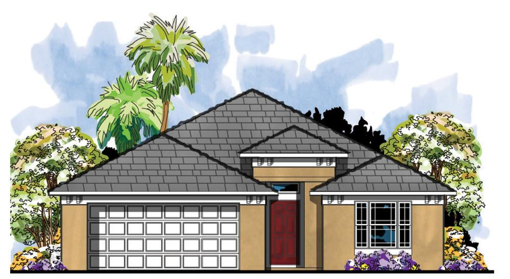 This is an artist's rendering of these Mediterranean Home Plans.
