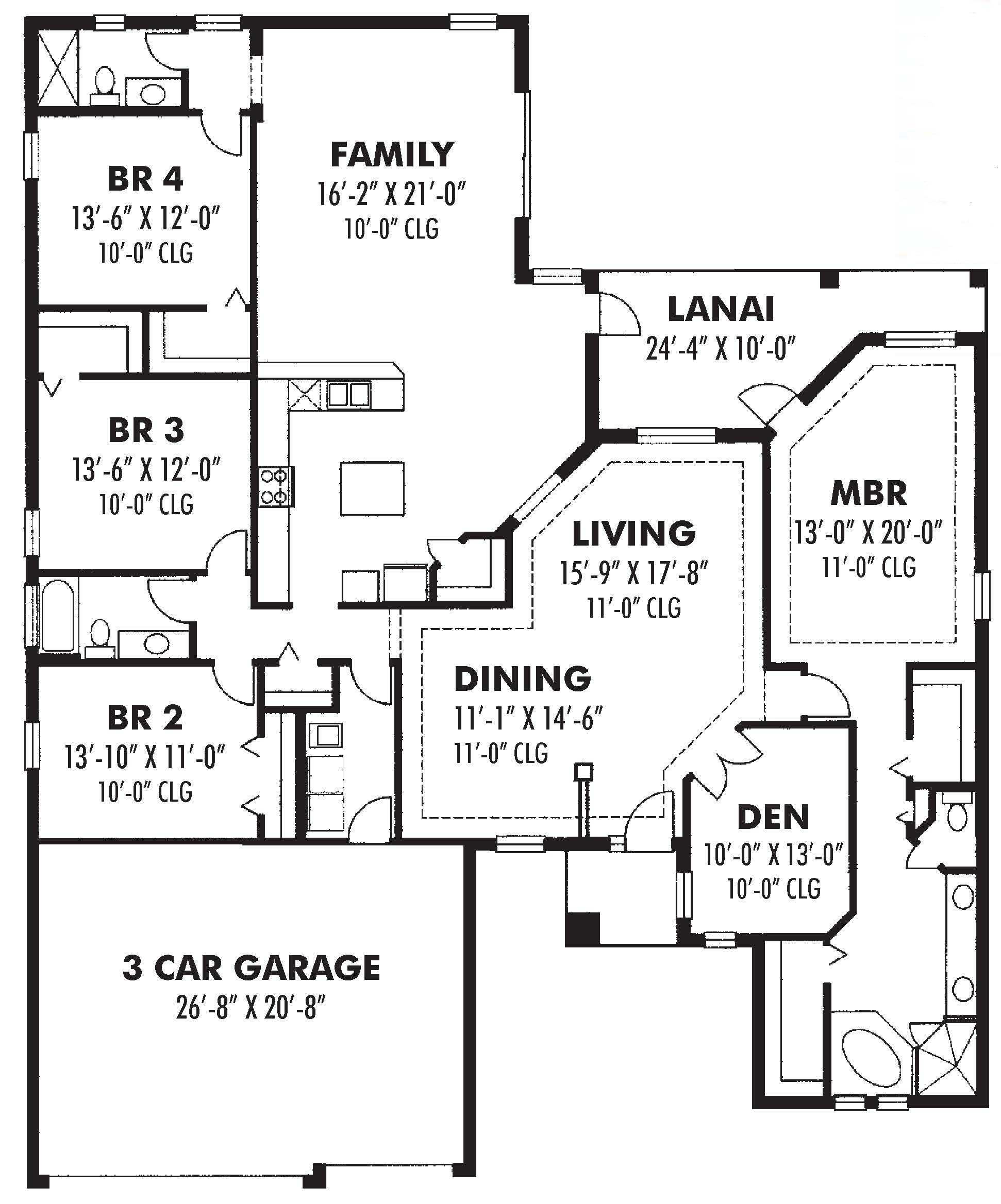 Ranch Home Plan Four Bedrooms Plan 159 1040