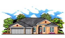 This is an artist's rendering of these Traditional Ranch House Plans.