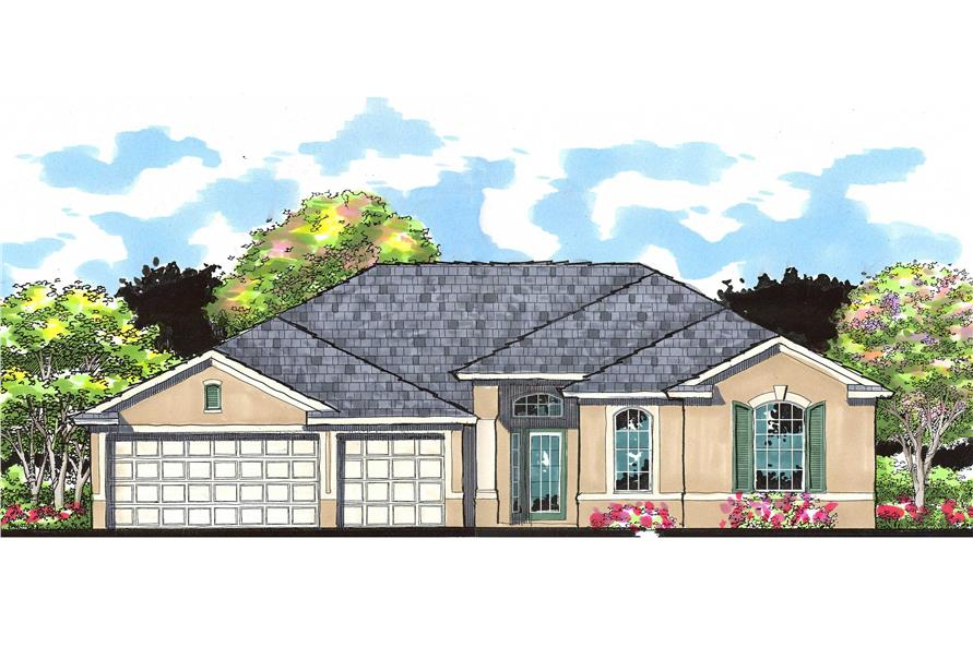 4-Bedroom, 2531 Sq Ft Ranch House Plan - 159-1042 - Front Exterior