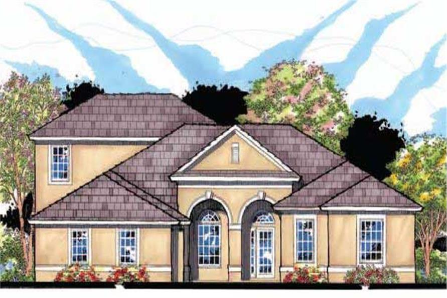 This is the front elevation for these Mediterranean House Plans.